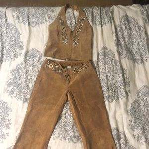 Suede west and pants set